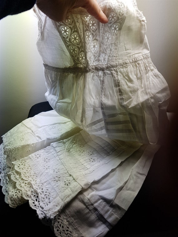 Antique White Cotton Girl's Christening Gown Dress