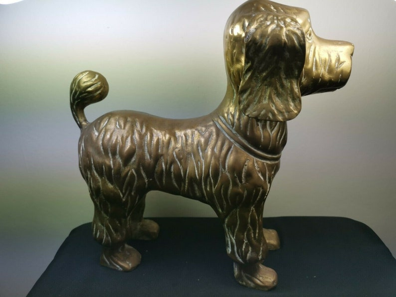 Vintage Dog Figurine Statue Sculpture Ornament Large Brass Metal 1950/'s Poodle or Terrier Dog Mid Century Original