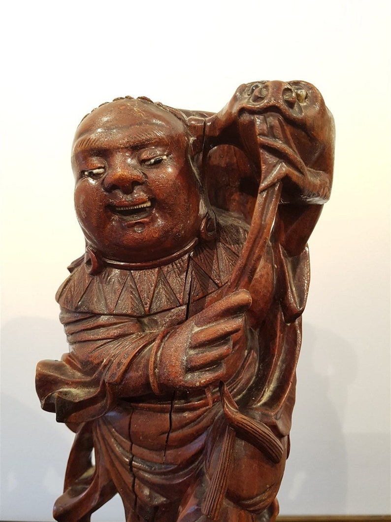 Antique Chinese Buddha Wood Carving with Teeth and Glass Eyes Hand Carved  Wooden Statue Sculpture Figurine Original Art