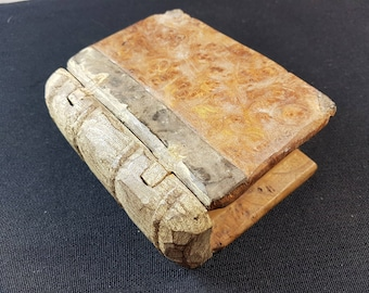 Antique Hand Made Wooden Book Shaped Box with Secret Hidden Compartment Hand Carved Wood Sculpture Books Shape