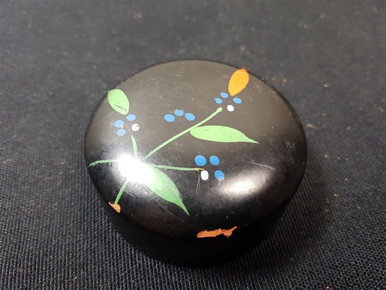 Antique Paperweight Hand Painted with Flowers Ceramic Pottery Victorian Late 1800/'s Original