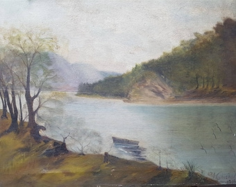 Antique Scottish Highlands Landscape Original Oil Painting of Lake and Boat on Canvas Signed and Dated 1916
