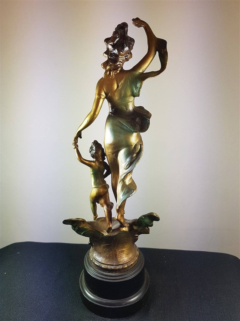 1920/'s Original Antique Art Nouveau Lady Mother and Child Statue Sculpture Figurine Spelter Metal on Bakelite Base Early 1900/'s