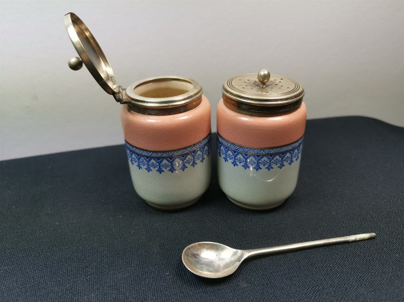 Antique Salt or Pepper Shaker and Mustard Pot Jar Set Ceramic and Silver Plated Cruet  Late 1800/'s Early 1900/'s Silver Pink Blue White