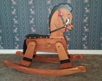Wooden Rocking Horse Etsy