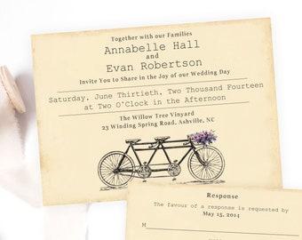 Tandem Bicycle Wedding Invitation, Printable Tandem Bicycle Wedding Invite and RSVP, Vintage Bicycle Invitation, Bicycle Wedding Invite