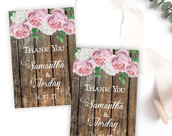 Floral Wedding Favor Tags, Rustic Floral Wedding Favor Tags, Pink Roses Wedding Tags, Wedding Thank You Tags, Pink Floral Wedding Tags
