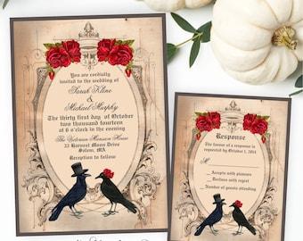 Halloween Wedding Invitation, Goth Wedding Invite, Crow Wedding Invitation, Raven Wedding Invitation, Printable Wedding Invite and RSVP