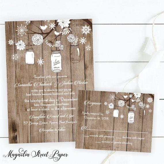 rustic winter wedding invitation whimsical white mason jar and