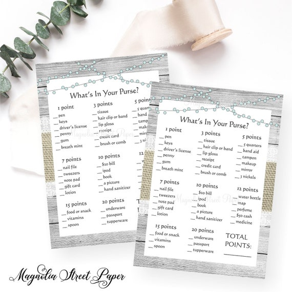 picture about What's in Your Purse Printable referred to as Printable Rustic Whats Within just Your Purse Bridal or Boy or girl Shower