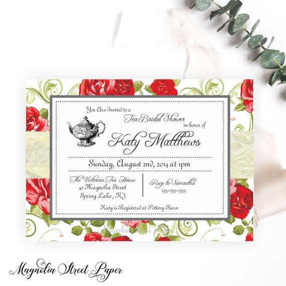High Tea Bridal Shower Invitations Bridal Tea Party Invite Kitchen