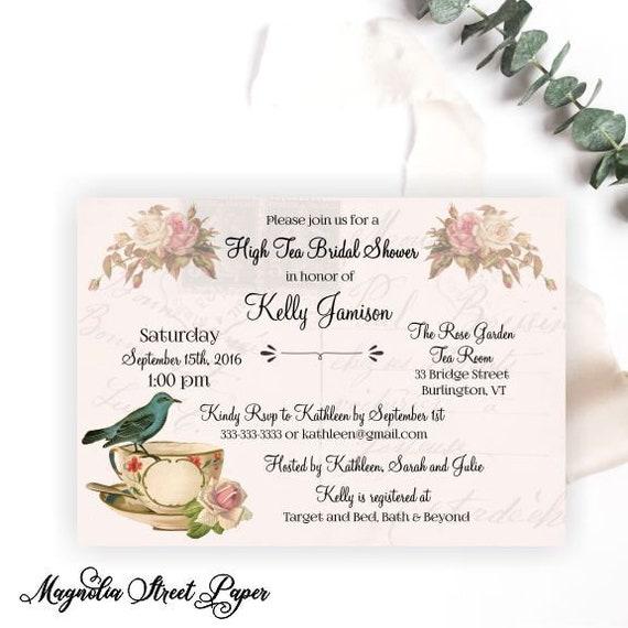 High Tea Bridal Shower Invitation Bridal Tea Party Invitation