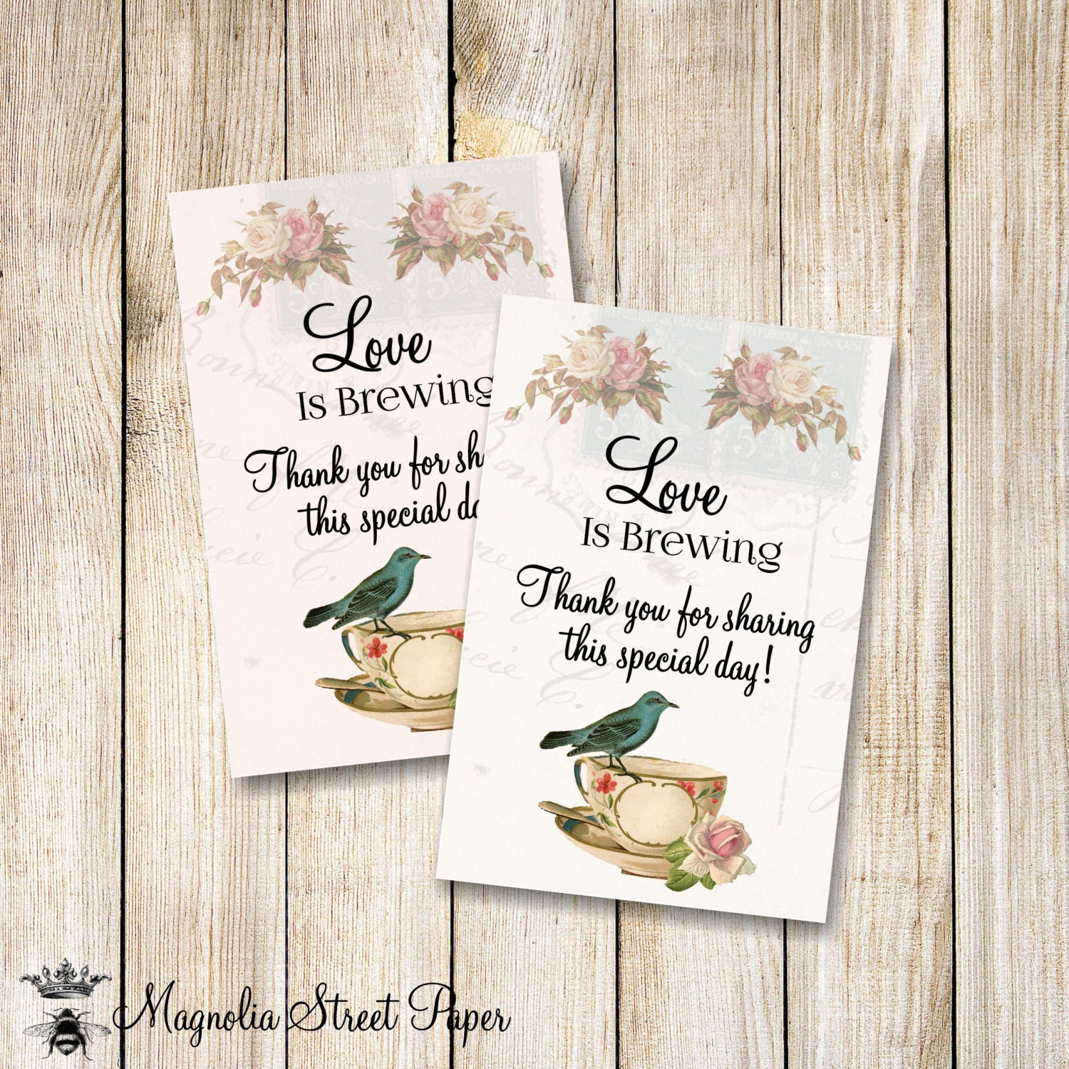 Love is Brewing Favor Tags, Printable Bridal Tea Favor Tags, Kitchen ...