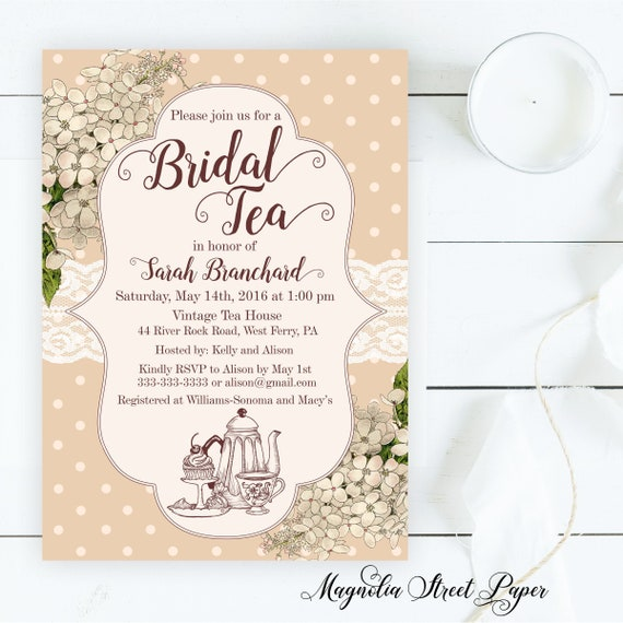 bridal tea party invitations high tea bridal shower invitation