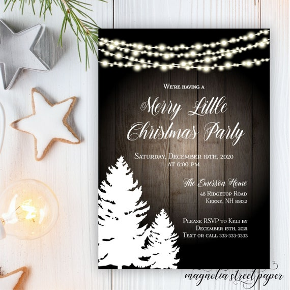 Christmas Open House 2021 Merry Little Christmas Party Invitation Pine Trees And Lights Holiday Invite Company Office Or Open House Printable Or Printed By Magnolia Street Paper Catch My Party