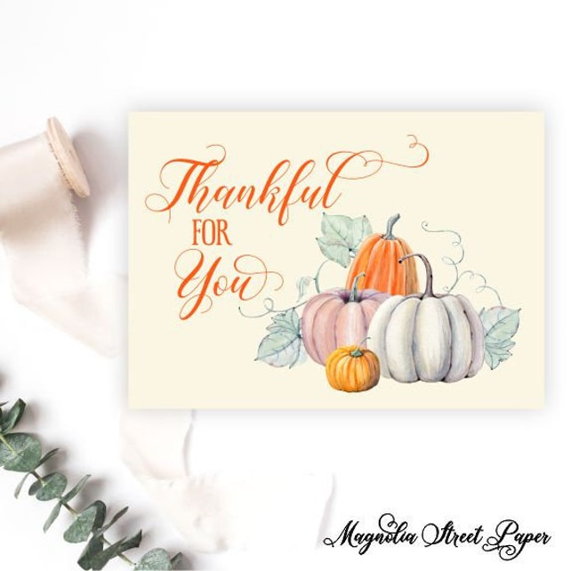 Pumpkin Thank You Cards Fall Thank You Notes Thankful For You