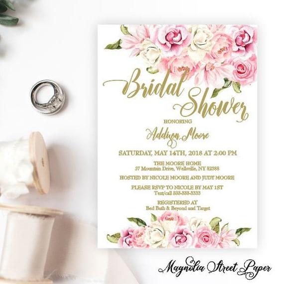 Printed Pink Modern Bridal Shower Invite Black Pink Invitation Pink Bridal Shower Printed Shower Invites Bridal Shower Professional Prints