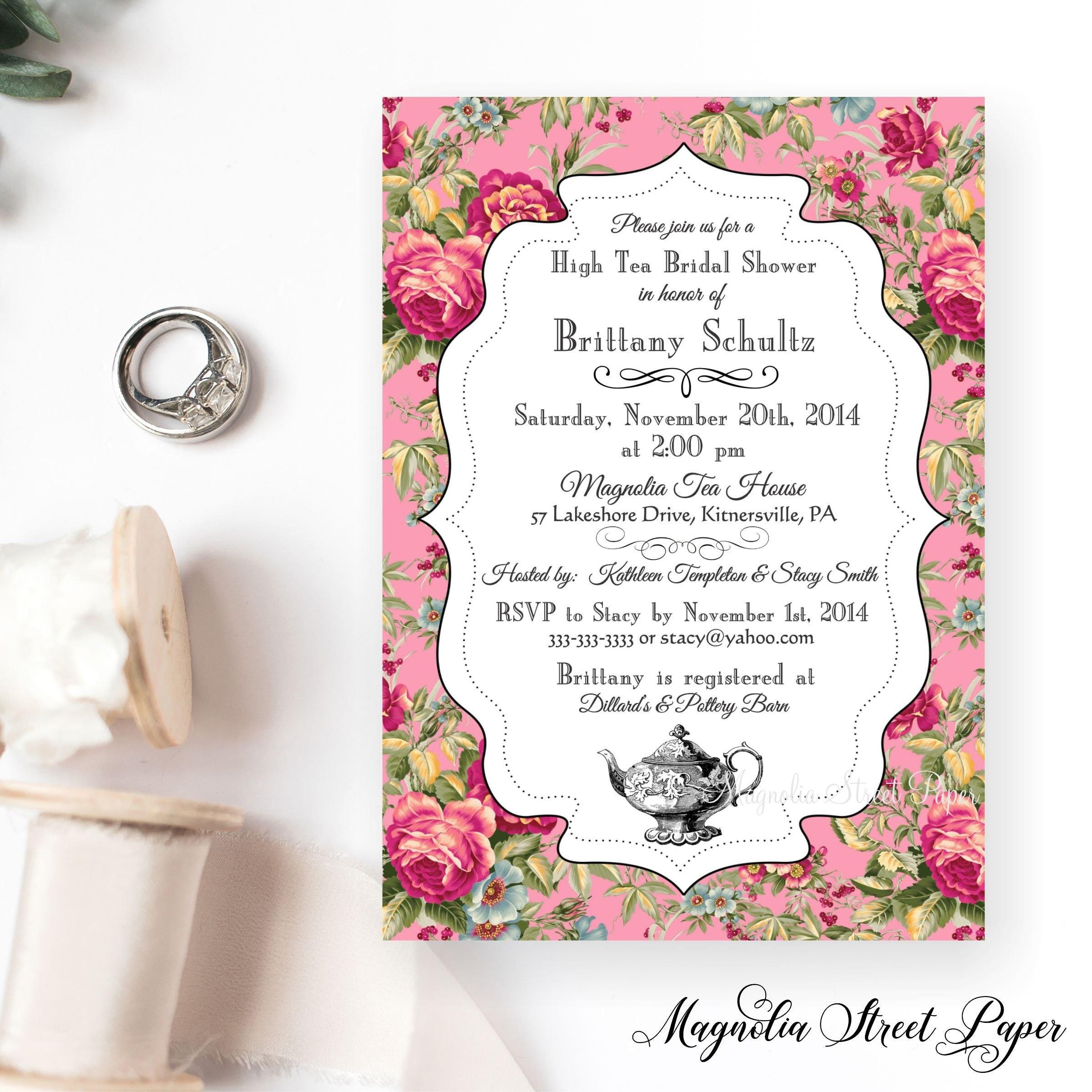 1470eb5dbd7 Pink Floral High Tea Bridal Shower Invitation Vintage Shabby