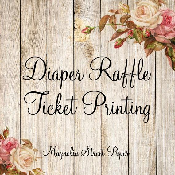 diaper raffle ticket printing baby shower diaper raffle insert