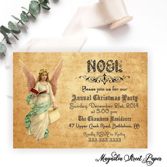 Noel Christmas Party Invitation Angel Holiday Party Invite Annual
