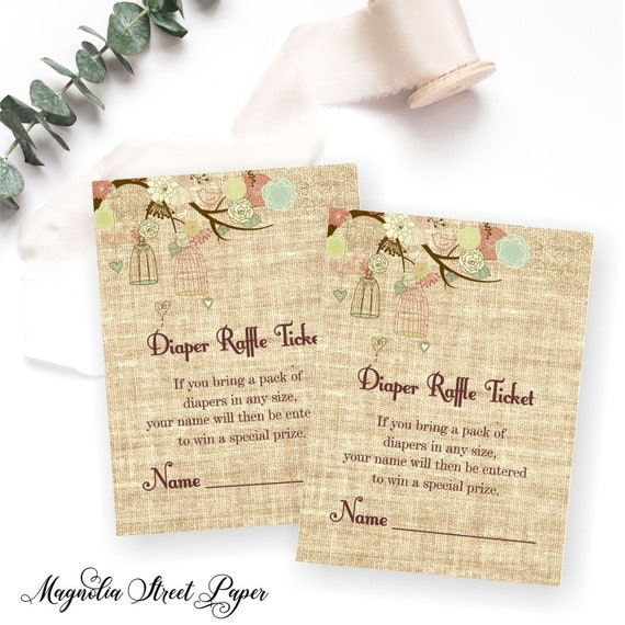 photograph regarding Printable Burlap Paper identified as Printable Rustic Diaper Raffle Ticket, Burlap Gender Impartial