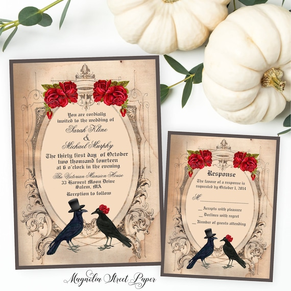 halloween wedding invitation goth wedding invite crow wedding