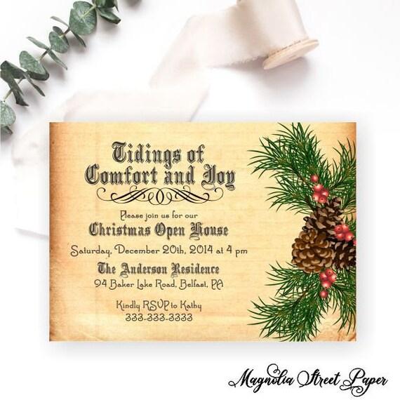 Christmas In Evergreen Tidings Of Joy.Pine Cone Christmas Party Invitation Tidings Of Comfort And