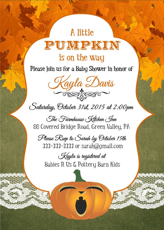 Baby Shower Invitation Printable Pumpkins and Autumn Leaves JPEGPDF files to Print Yourself Gender Neutral