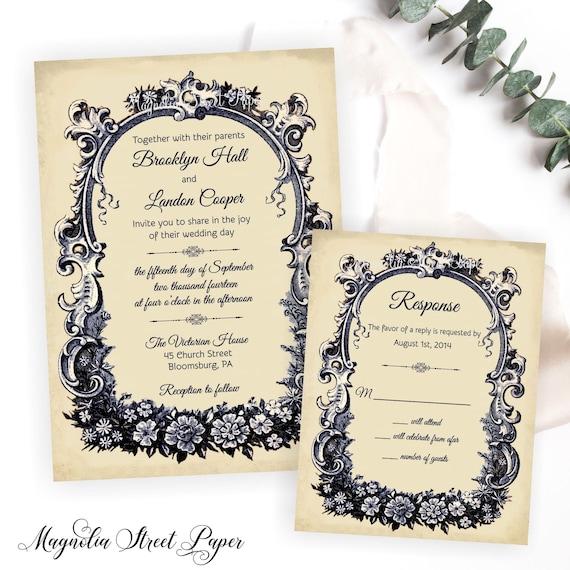French Vintage Wedding Invitations: French Wedding Invitation, Vintage French Wedding Invite