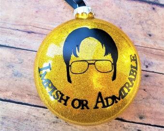 dwight schrute christmas ornament the office ornament impish or admirable the office christmas gift dunder mifflin christmas ornament