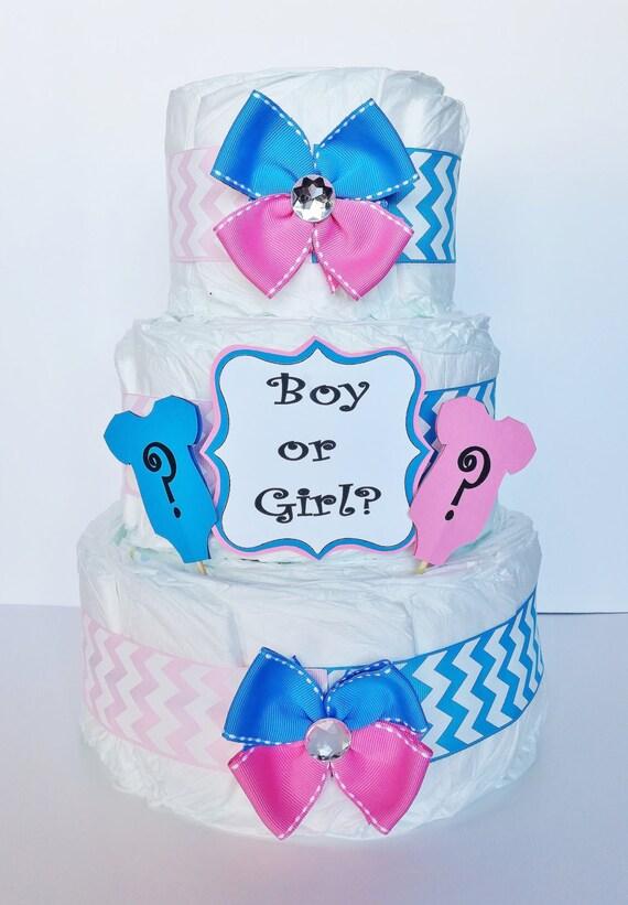 Gender Reveal Diaper Cake Boy Or Girl Baby Shower Etsy