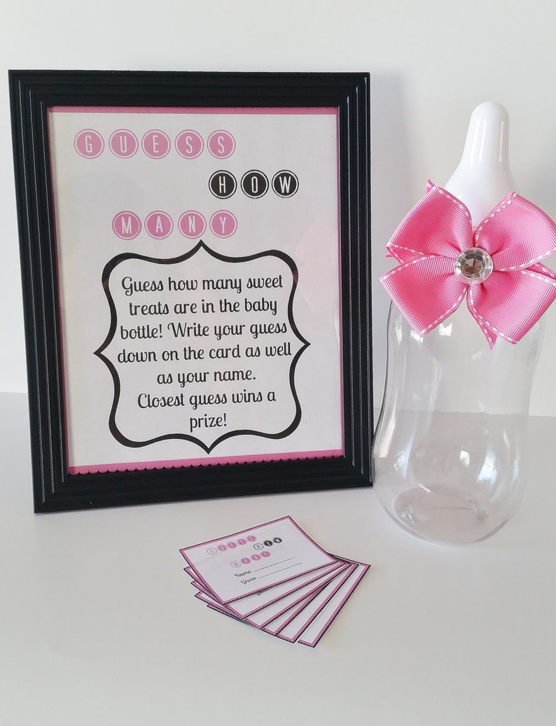 How Many Shower Game M/&M Game Guessing Game Baby Girl Baby Shower Game Table Centerpiece Pink Game Sign Guess How Many Baby Shower Game