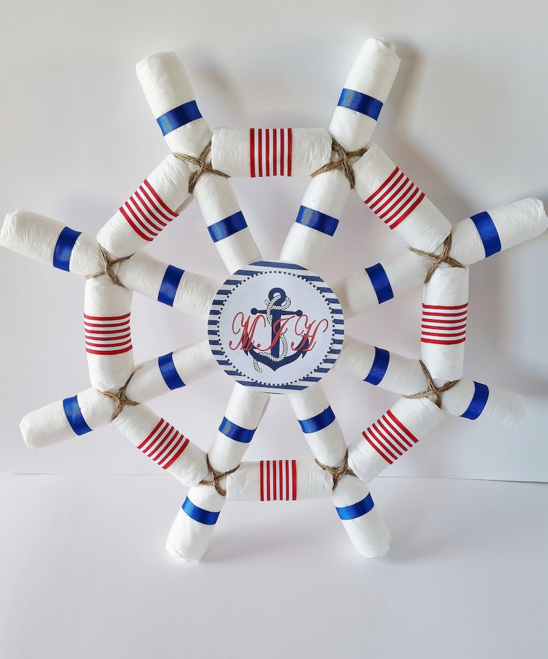 Nautical Baby Shower Centerpiece Captains Wheel Diaper Cake Etsy