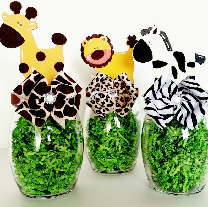 Pleasant Safari Centerpieces Jungle Animal Table Decorations Mason Candy Jar Baby Shower And Birthday Table Decor Zoo Animal Party Decor Download Free Architecture Designs Scobabritishbridgeorg