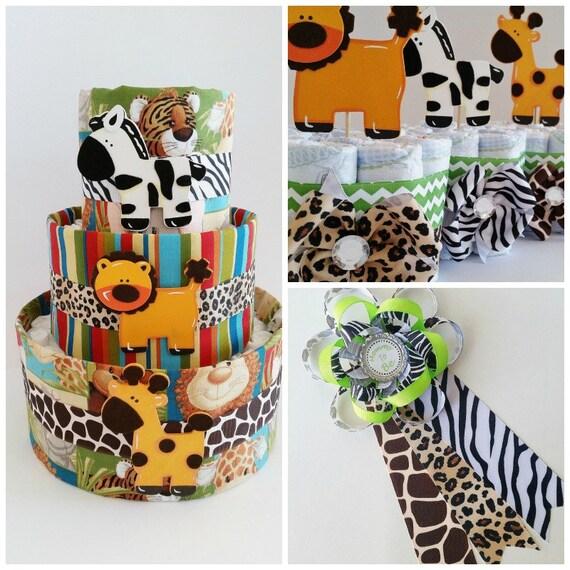 safari baby shower decor jungle themed diaper cake safari etsy