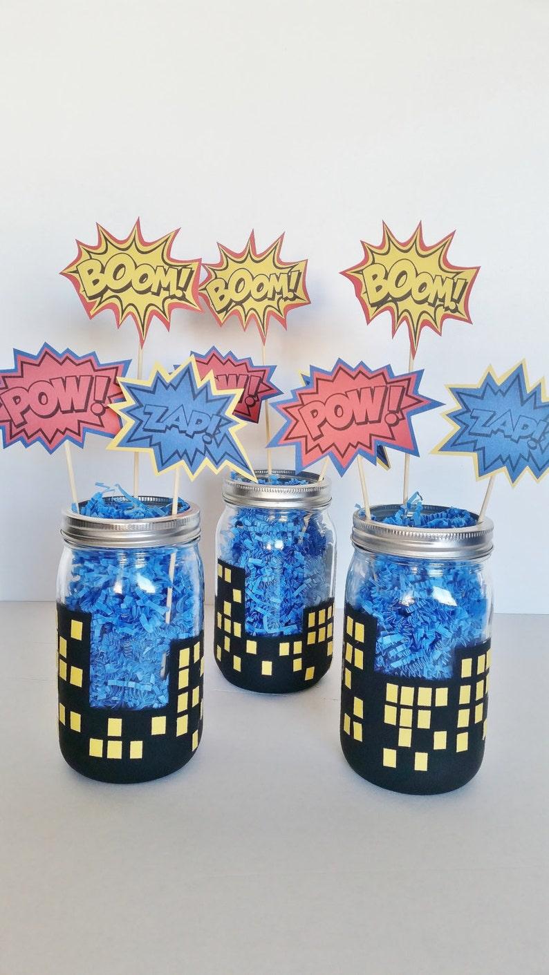 Superhero Party Centerpieces Boys Birthday Decor Batman Etsy