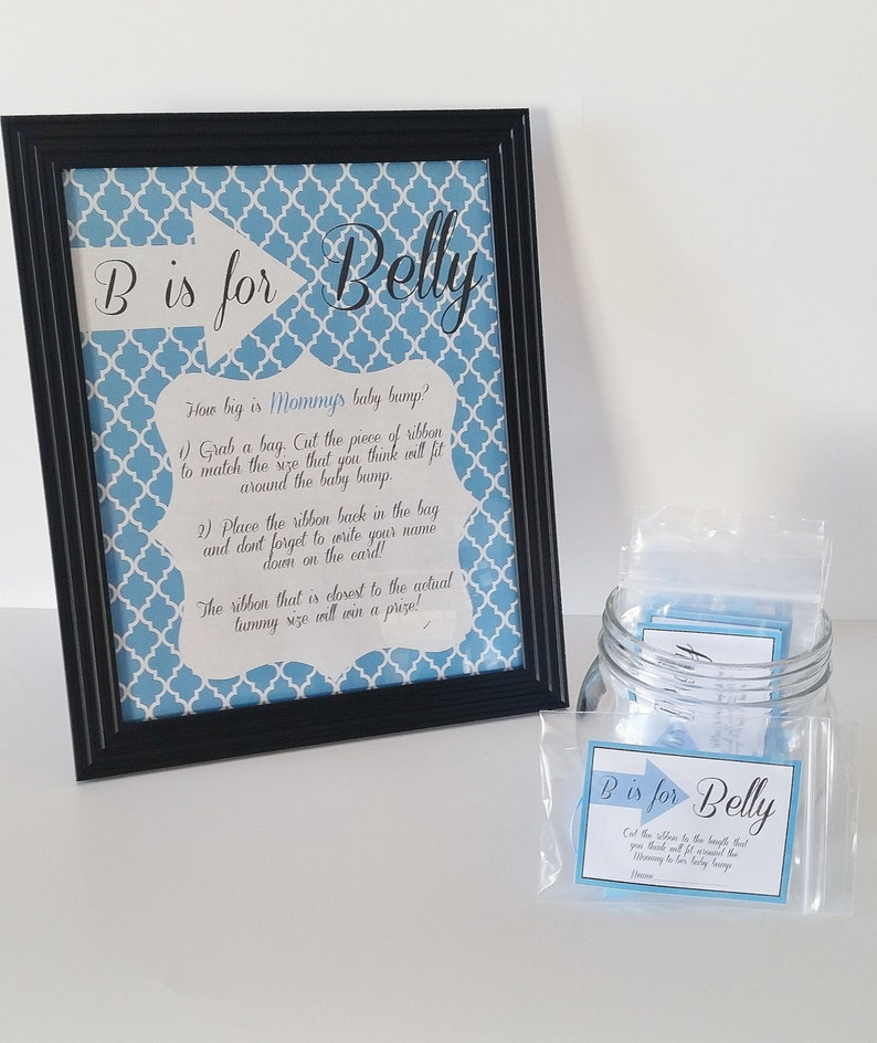 Baby Shower Game B Is For Belly Game Measure The Belly Game Etsy