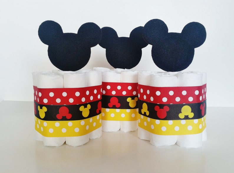 Mickey Mouse Diaper Cake Mickey Mouse Baby Shower Decor Baby Etsy