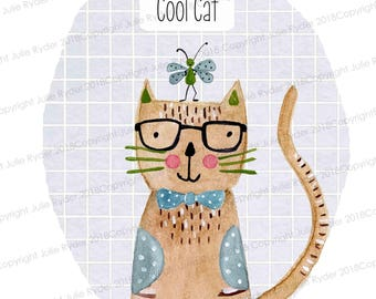 A4 size Watercolour Print of Cool Cat and Butterfly