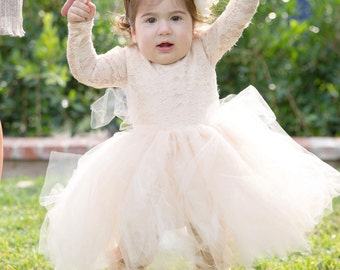 SoDarling 1st birthday dress, tutu dress,tut,lace dress,baby girl,princess,beautiful dress, champaign color