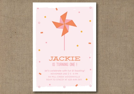 DIY Printable Pinwheel Birthday Invitation
