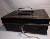 Antique Early 1900s Toleware Metal Bank Money Box Black Tin Cash Strong Box, Deed Document Box w Working Key