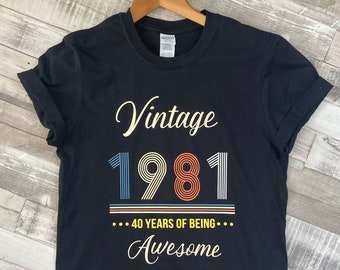 Vintage 30 40 50 60 Birthday Unisex T Shirt With Your Choice of Date Design Your Shirt Birthday Gift
