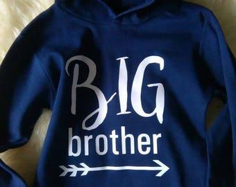 Big Brother Hooded Long Sleeve T-Shirt Birth Announcement Tshirt