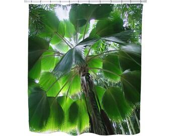 PALM SHOWER CURTAIN Bathrooms Home Decor Modern Condo Tropical Green Palm Trees Fabric Shower Curtains Tree Art