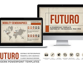 Futuro Powerpoint Templates Bauhaus Styled Presentation Layouts For EBooks Classroom Business