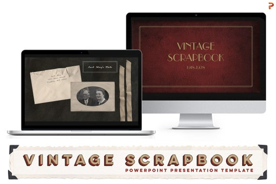 vintage scrapbook powerpoint presentation templates for etsy