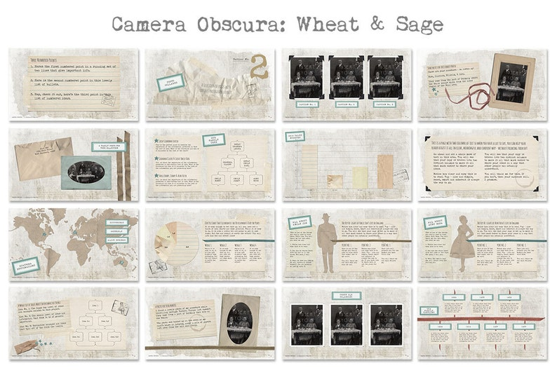 Camera Obscura Powerpoint Templates with Vintage Scrapbook Feel
