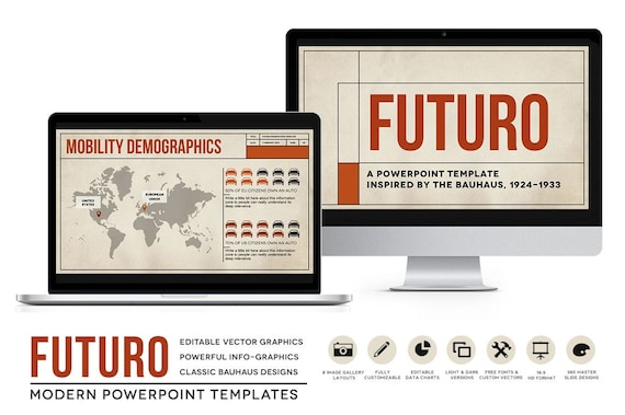 ff535025c88 Futuro Powerpoint Templates: Bauhaus Styled Presentation Layouts for  eBooks, Classroom & Business