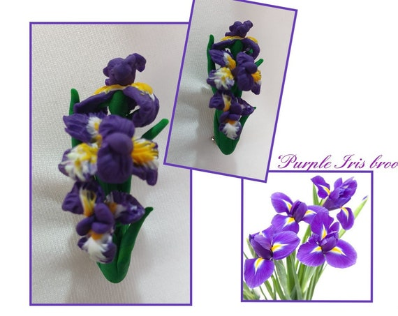 Purple Iris brooch